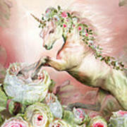 Unicorn And A Rose Art Print