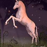 Unicorn In A Moonlit Forest Glade Art Print