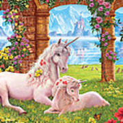 Unicorn Mother And Foal Art Print