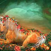 Unicorn Of The Roses Art Print by Carol Cavalaris