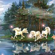 Unicorn Wizard Pool Art Print