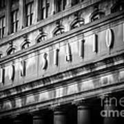 Union Station Chicago Sign In Black And White Print by Paul Velgos