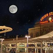 Union Station Denver Under A Full Moon Art Print