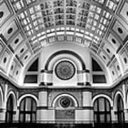 Union Station Lobby Black And White Art Print