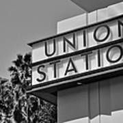 Union Station Sign Black And White Art Print