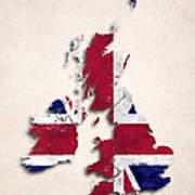United Kingdom Map Art With Flag Design Art Print