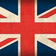 United Kingdom Union Jack England Britain Flag Vintage Distressed Finish Art Print by Design Turnpike