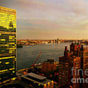 United Nations Building At Nightfall With Chrysler Building Reflection - Landmark Buildings  Art Print