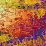 United States Flag Map Vintage 2 Art Print