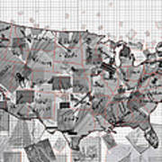 United States Map Collage 3 Art Print