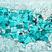 United States Map Collage 8 Art Print
