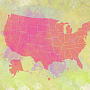 United States Map - Red And Watercolor Art Print