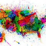 United States Paint Splashes Map Art Print