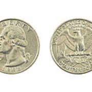 United States Quarter On White Background Art Print