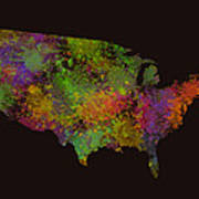 Unites States Watercolor Map Art Print