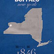 University At Buffalo New York Bulls College Town State Map Poster Series No 022 Art Print