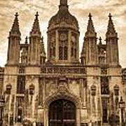 University Entrance Door Sepia Art Print by Douglas Barnett