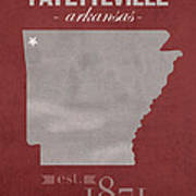 University Of Arkansas Razorbacks Fayetteville College Town State Map Poster Series No 013 Art Print