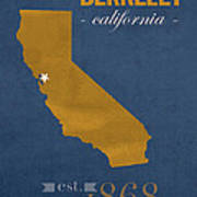 University Of California At Berkeley Golden Bears College Town State Map Poster Series No 024 Art Print