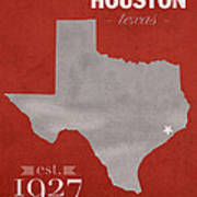 University Of Houston Cougars Texas College Town State Map Poster Series No 045 Art Print