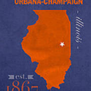 University Of Illinois Fighting Illini Urbana Champaign College - Us college map poster