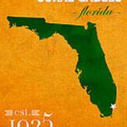 University Of Miami Hurricanes Coral Gables College Town Florida State Map Poster Series No 002 Art Print