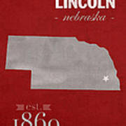 University Of Nebraska Lincoln Cornhuskers College Town State Map Poster Series No 071 Art Print