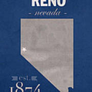 University Of Nevada Reno Wolfpack College Town State Map Poster Series No 072 Art Print
