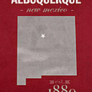 University Of New Mexico Albuquerque Lobos College Town State Map Poster Series No 074 Art Print