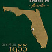 University Of South Florida Bulls Tampa Florida College Town State Map Poster Series No 101 Art Print
