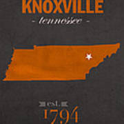 University Of Tennessee Volunteers Knoxville College Town State Map Poster Series No 104 Art Print