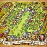 University Of Virginia Academical Village  With Scroll Art Print