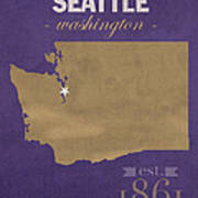 University Of Washington Huskies Seattle College Town State Map Poster Series No 122 Art Print