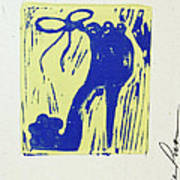 Untitled Shoe Print In Blue And Green Art Print