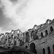 Upper Tiers Of The Old Roman Colloseum From The Inside Looking Up At Blue Cloudy Sky At El Jem Tunisia Art Print