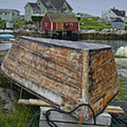 Upside Down Boat In Peggy's Cove Harbour Art Print