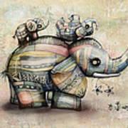 Upside Down Elephants Art Print by Karin Taylor