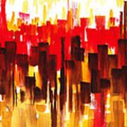 Urban Abstract Glowing City Art Print