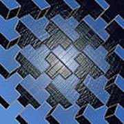 Urban Blue City Boxes Cube Leather Art Print