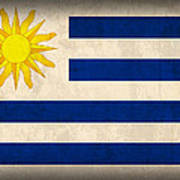 Uruguay Flag Vintage Distressed Finish Art Print