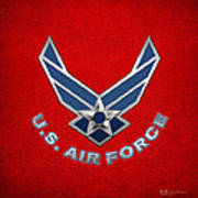 U. S. Air Force  -  U S A F Logo On Red Leather Art Print