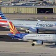 Us Airways Airbus A319 N826aw Arizona American Boeing 787 N801ac Phoenix Sky Harbor March 10 2015 Art Print