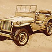 Us Army Jeep In World War 2 - Stylised Modern Drawing Art Sketch Art Print