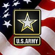 U. S. Army Logo Over American Flag. Art Print
