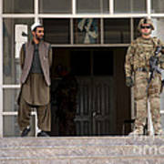 U.s. Army Soldier Stands Guard In Farah Art Print