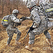 U.s. Army Soldiers Helps A Fellow Art Print