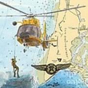 Us Coast Guard Rescue Swimmer Nautical Chart Art Cathy Peek Art Print