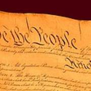 Us Constitution Closest Closeup Red Brown Background Larger Sizes Art Print