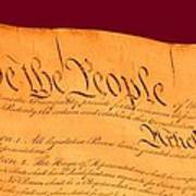 Us Constitution Closest Closeup Violet Red Background Art Print by L Brown