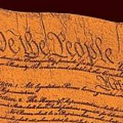 Us Constitution Closeup Sculpture Brown Background Art Print by L Brown